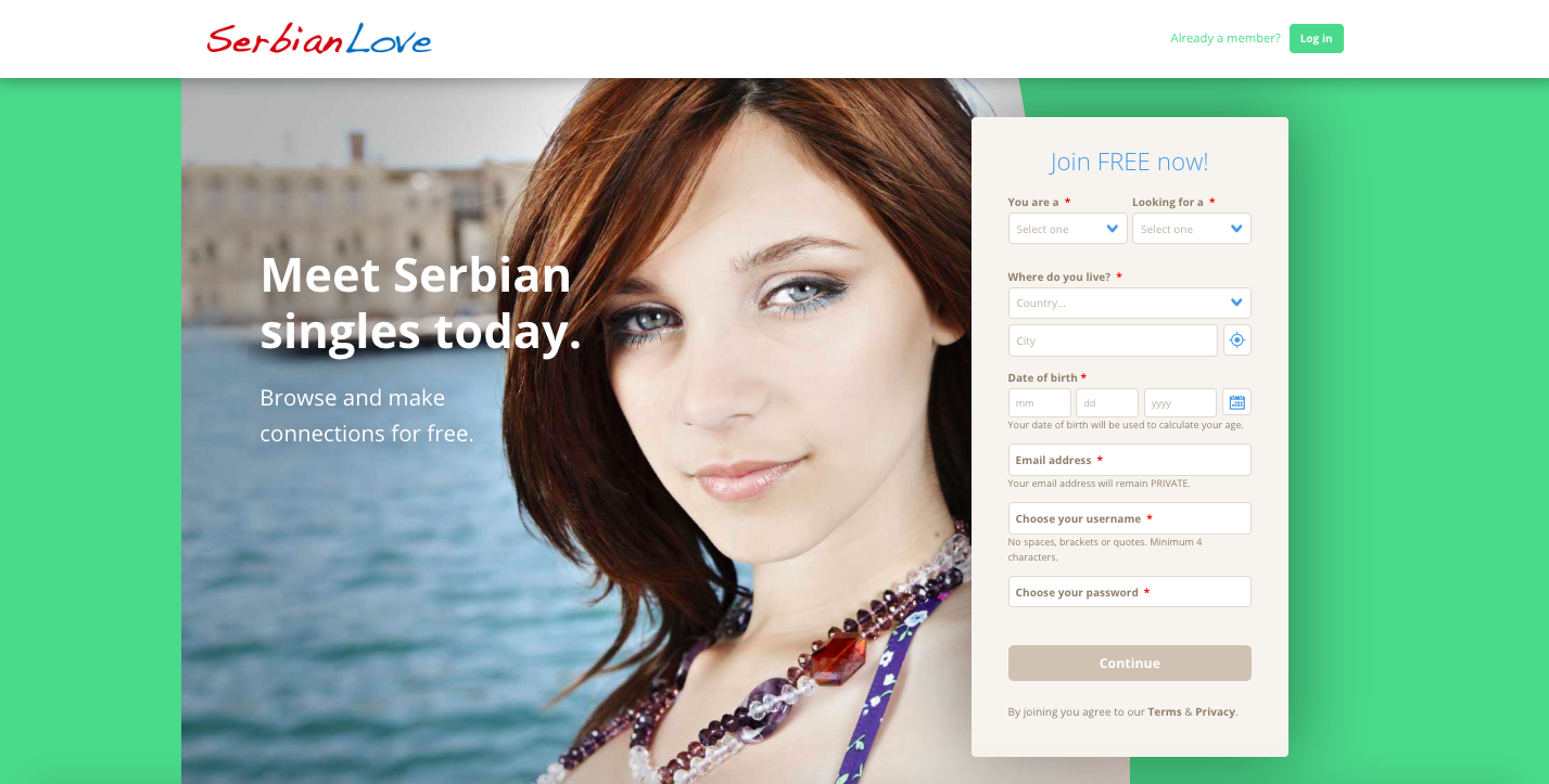 A screen capture of the home page of SerbianLove.com, a leading Serbia dating site