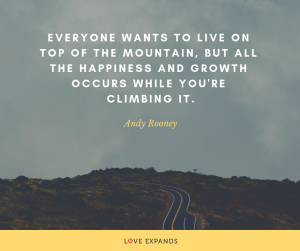 "A picture quote by Andy Rooney that features a road running through a mountain. The quote reads, ""Everyone wants to live on top of the mountain, but all the happiness and growth occurs while you're climbing it."""