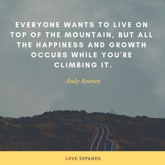 "A picture quote by Andy Rooney ""Everyone wants to live on top of the mountain, but all the happiness and growth occurs while you're climbing it."""