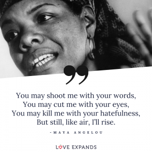 "Maya Angelou picture quote: ""You may shoot me with your words, You may cut me with your eyes, You may kill me with your hatefulness, But still, like air, I'll rise."""