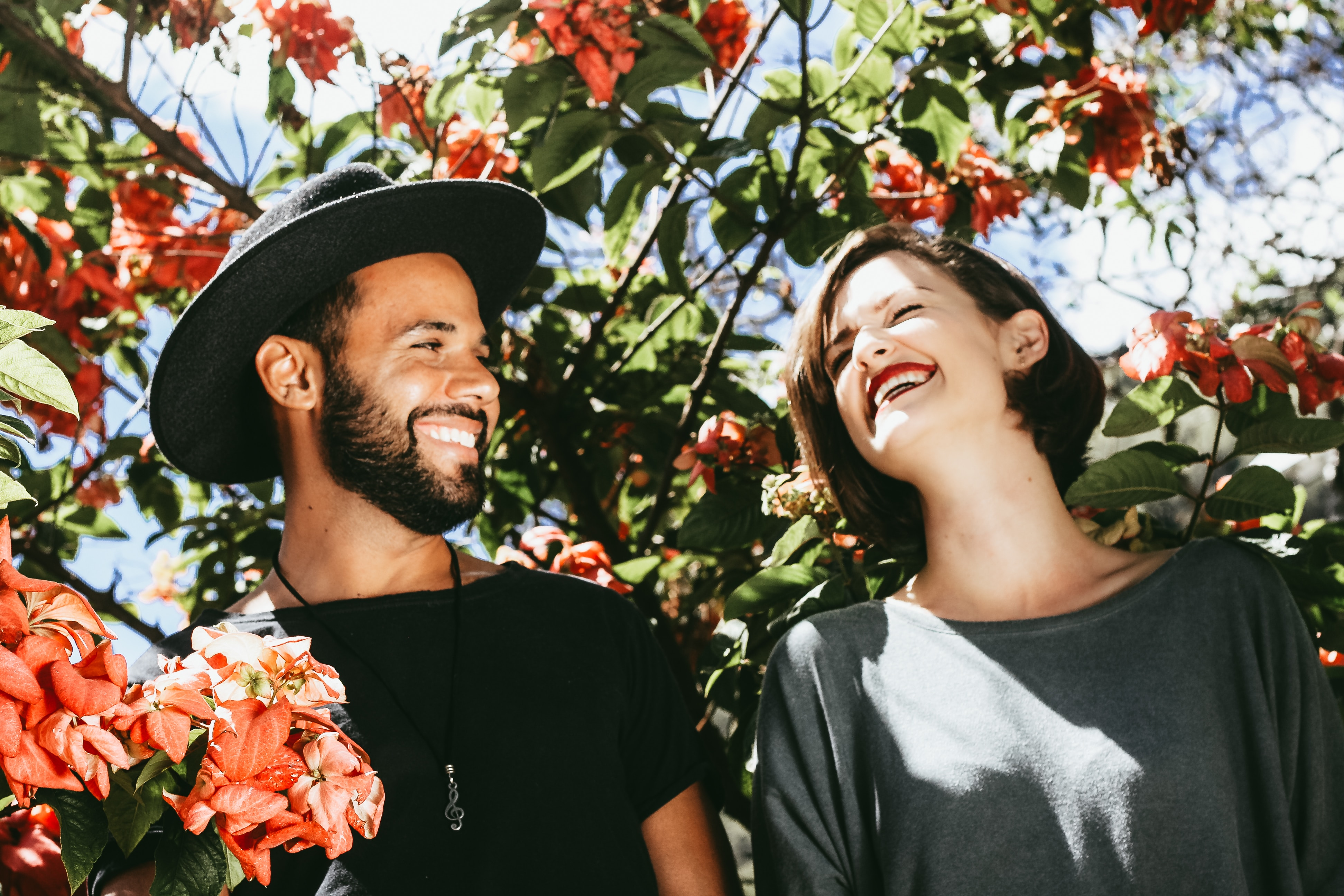 An interracial couple having a good date