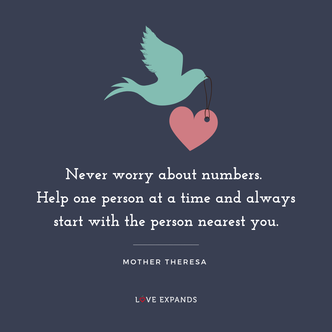 Picture quote by Mother Theresa: Never worry about numbers. Help one person at a time and always start with the person nearest you.