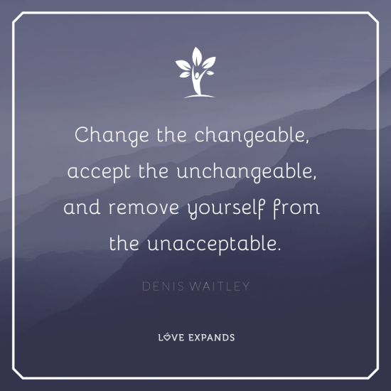 Inspirational picture quote by Denis Waitley. Change the changeable, accept the unchangeable, and remove yourself from the unacceptable.