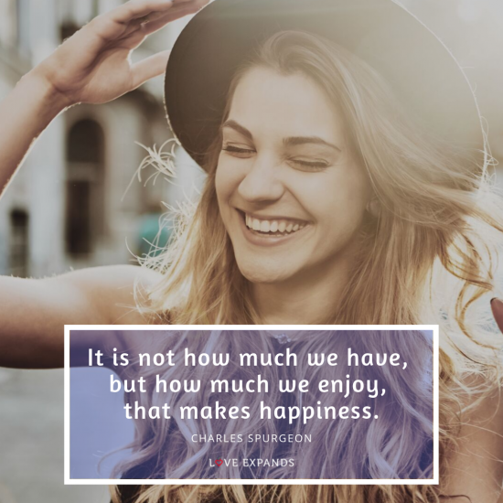 "Picture quote by Charles Spurgeon, ""It is not how much we have, but how much we enjoy, that makes happiness."""