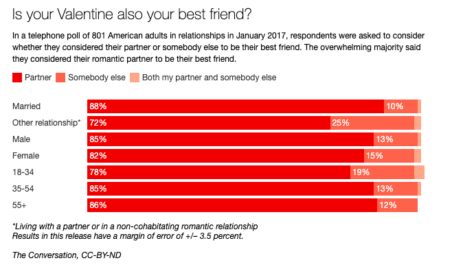 Graphic of survey: espondents were asked to consider whether they considered their partner or somebody else to be their best friend.