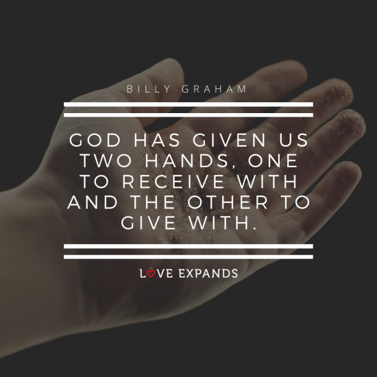 Picture quote by Billy Graham: God has given us two hands, one to receive with and the other to give with.