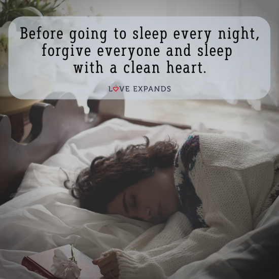 "Picture quote of a woman in bed falling asleep with her diary at hand: ""Before going to sleep every night, forgive everyone and sleep with a clean heart."""