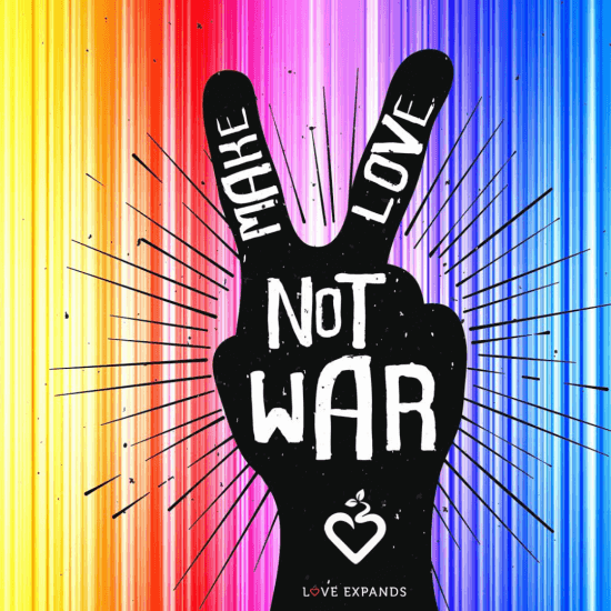 A Make Love Not War image with a peace sign and rainbow colors in the background