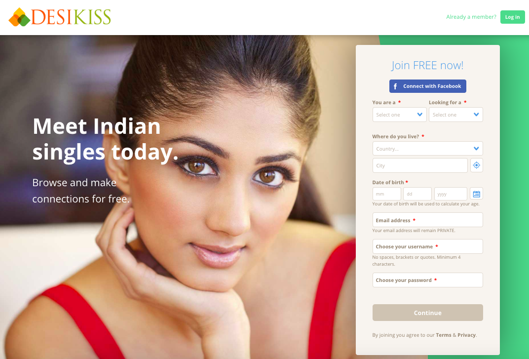 Home page of the leading Desi dating app, DeskiKiss