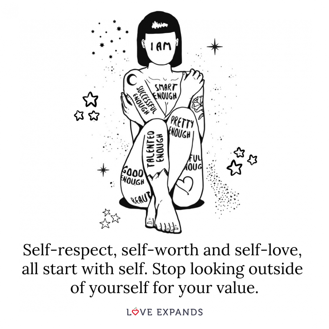 Motivational Picture Quote: Self-respect, self-worth and self-love, all start with self. Stop looking outside of yourself for your value.