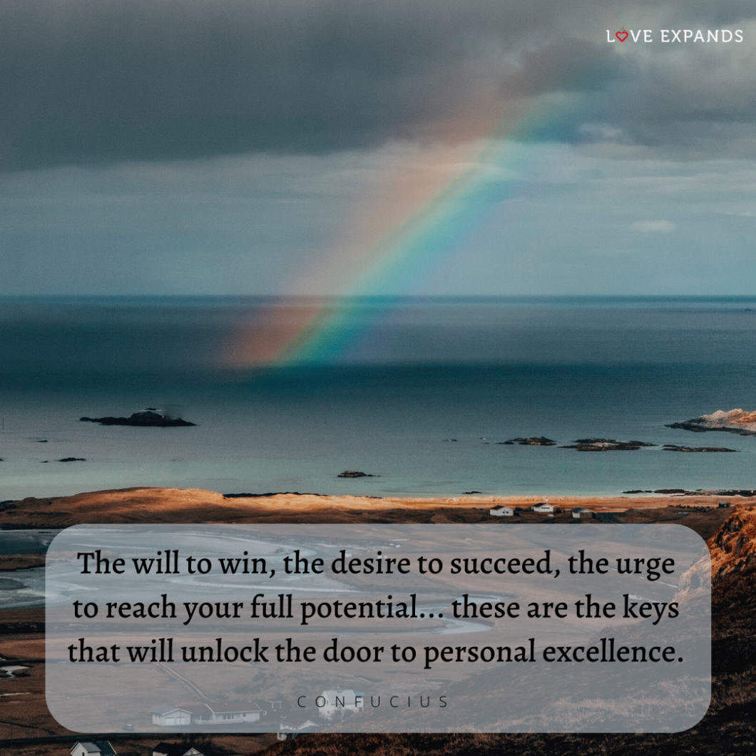 Confucius picture quote of beach, ocean and rainbow.