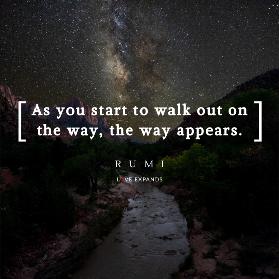 An inspiring view of the river and stars. Picture quote by Rumi.