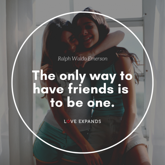 Ralph Waldo Emerson picture quote of two girlfriends hugging.