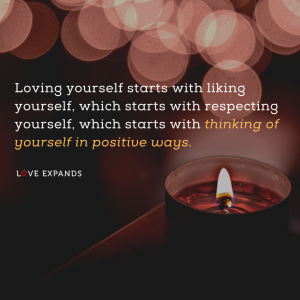 Picture quote of candle and loving yourself
