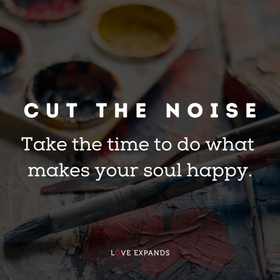 """Picture Quote: """"Cut the noise. Take the time to do what makes your soul happy."""""""