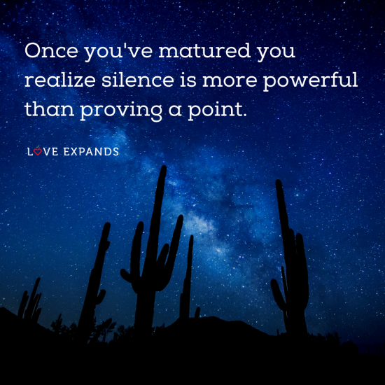 Picture quote of a silent starry night and cactus