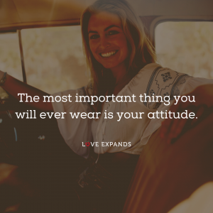 Picture quote of a woman in a car wearing a big smile and great attitude.