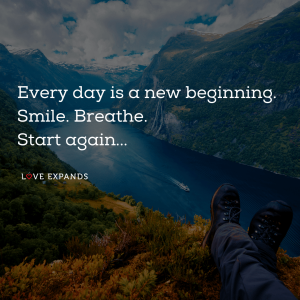 "Motivational picture quote: ""Every day is a new beginning. Smile. Breathe. Start again."""