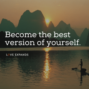 "Picture quote of a person paddling on a standing board: ""Become the best version of yourself."""