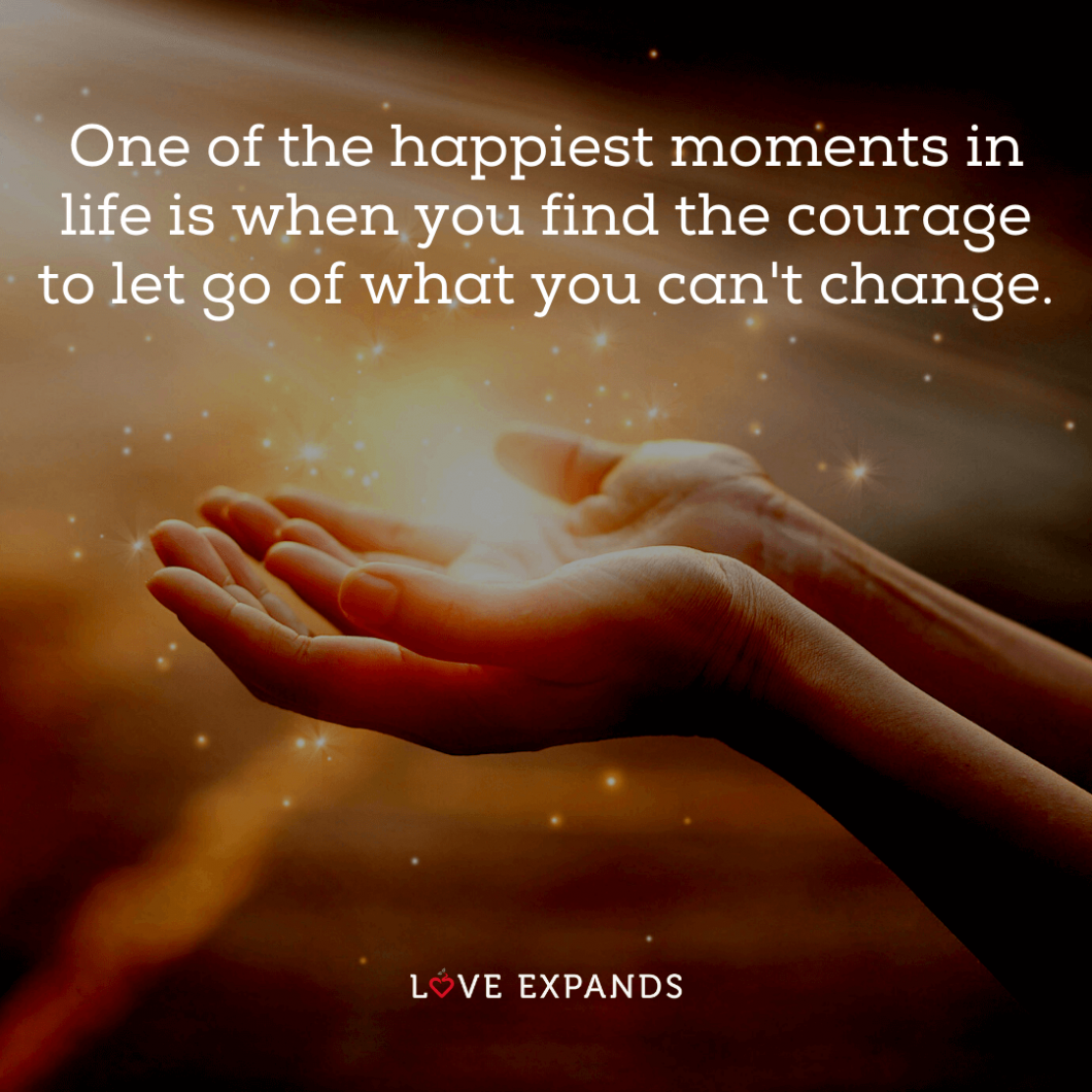 "Picture quote: ""One of the happiest moments in life is when you find the courage to let go of what you can't change."""