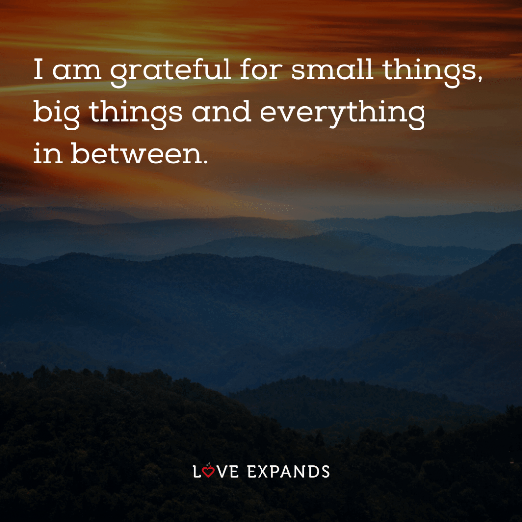 """Inspirational picture quote: """"I am grateful for small things, big things and everything in between."""""""