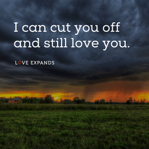 """Tough love picture quote: """"I can cut you off and still love you."""""""
