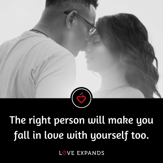 "Love picture quote of an African American couple: ""The right person will make you fall in love with yourself too."""