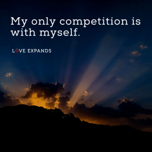 """Sun rays poking through clouds picture quote: """"My only competition is with myself."""""""