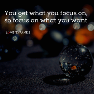 Picture quote of marbles and focusing on what you want