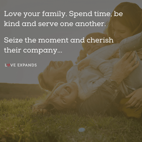 Picture quote of loving family playing in grass.