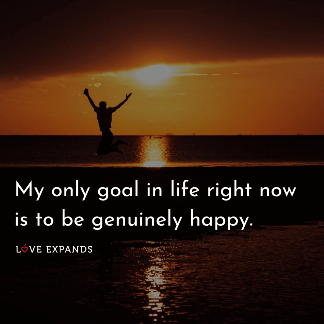 """A happy man jumping on the beach. Happy Quote: """"My only goal in life right now is to be genuinely happy."""""""