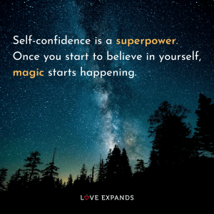 Believing in yourself and self-confidence is superpower picture quote featuring the magic of stars at night.