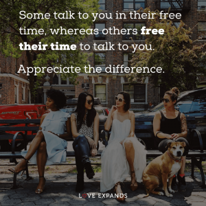 "A group of female friends sitting on a bench: ""Friendship picture quote: ""Some talk to you in their free time, whereas some free their time to talk to you. Appreciate the difference."""
