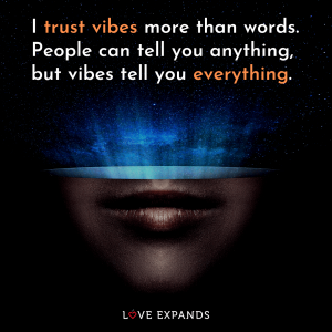 """I trust vibes more than words. People can tell you anything, but vibes tell you everything."""