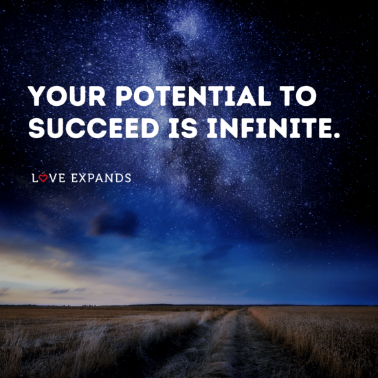"Stars at night picture quote about potential: ""Your potential to succeed is infinite."""
