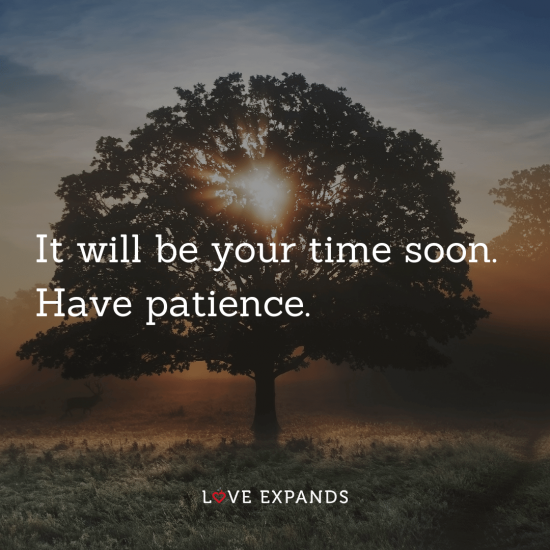 """Tree and sun picture quote: """"It will be your time soon. Have patience."""""""