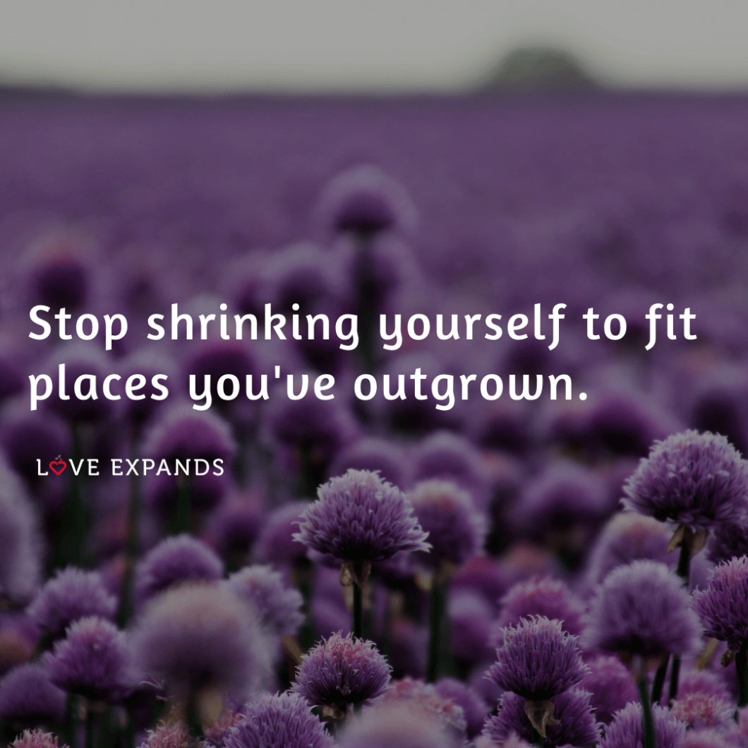 """Picture quote of a field of purple flowers: """"Stop shrinking yourself to fit places you've outgrown.'"""
