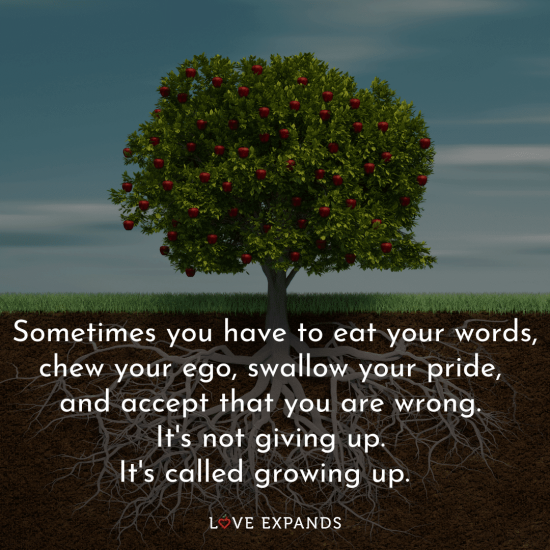 Sometimes you have to eat your words, chew your ego, swallow your pride, and accept that you are wrong. It's not giving up. It's called growing up.⠀