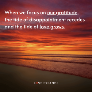 """Gratitude picture quote of a beach and sunset: """"When we focus on our gratitude, the tide of disappointment recedes and the tide of love grows."""""""