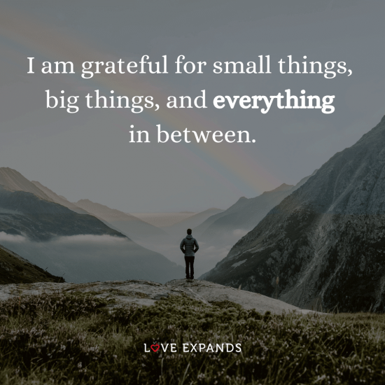 "Gratitude picture quote: ""I am grateful for small things, big things, and everything in between."""