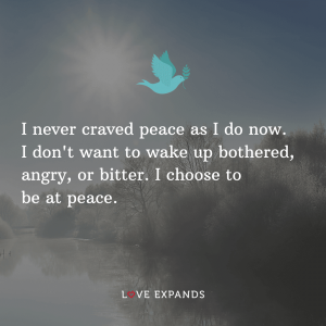"""Positive mindset and life picture quote: """"I never craved peace as I do now. I don't want to wake up bothered, angry, or bitter. I choose to be at peace."""""""