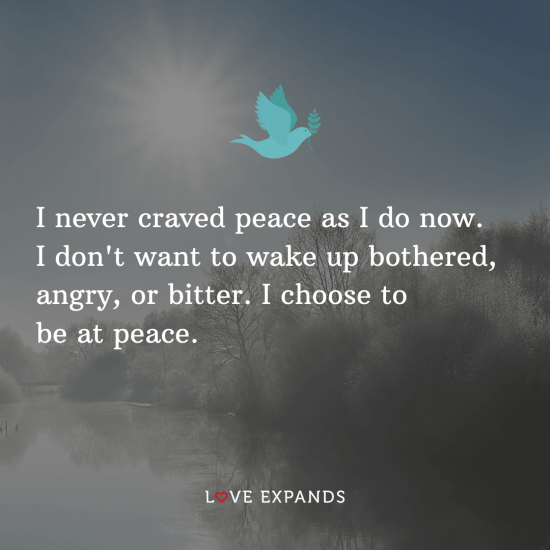 "Positive mindset and life picture quote: ""I never craved peace as I do now. I don't want to wake up bothered, angry, or bitter. I choose to be at peace."""