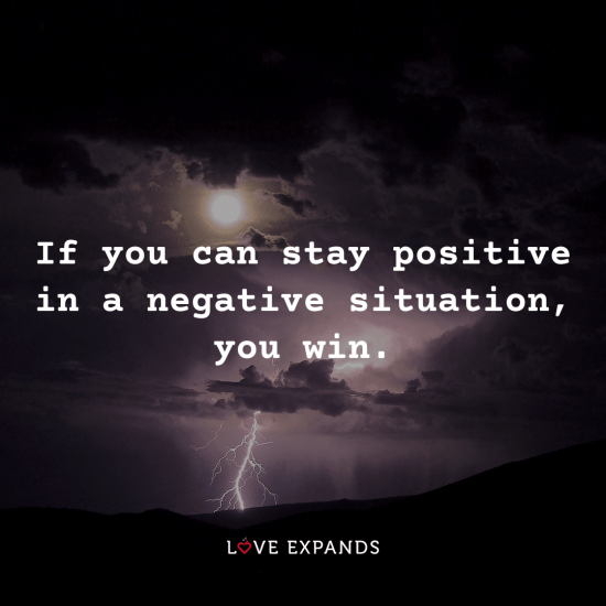 "Positive and encouragement picture quote of the moon and lightning: ""If you can stay positive in a negative situation, you win."""