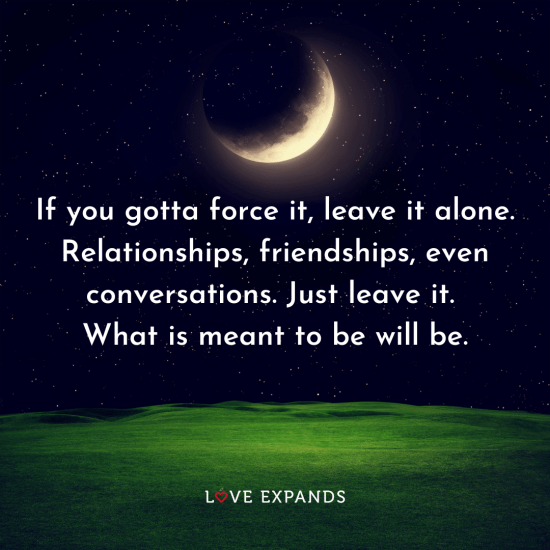 """Picture Quote: """"If you gotta force it, leave it alone. Relationships, friendships, even conversations. Just leave it. What is meant to be will be."""""""