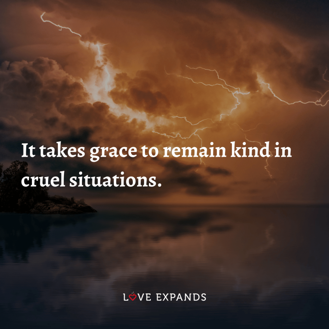 "Life and wisdom picture quote: ""It takes grace to remain kind in cruel situations."""