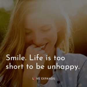 """Happiness picture quote: """"Smile. Life is too short to be unhappy."""""""