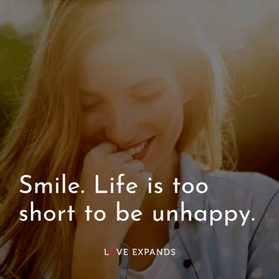 "Happiness picture quote: ""Smile. Life is too short to be unhappy."""
