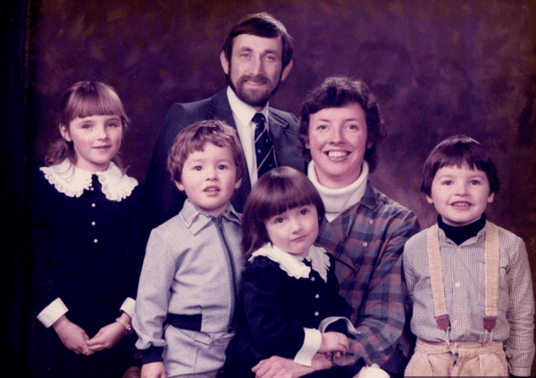 Jo and Sue Williamson with their four children, two of whom have the same defective gene that causes the cancer that killed their mother in 2003. Cancer Research