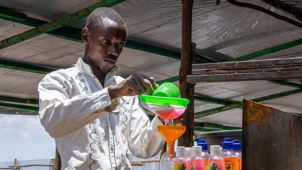 Innocent Havyarimana started his soap-making business in Kenya's Kakuma refugee camp in 2015. His cottage enterprise has become a major weapon in the fight against coronavirus.