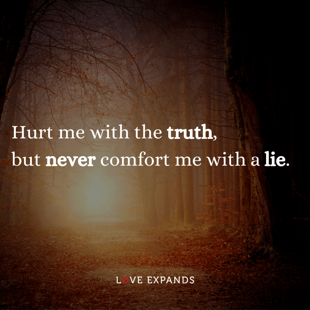 """Friendship and relationship picture quote: """"Hurt me with the truth, but never comfort me with a lie."""""""
